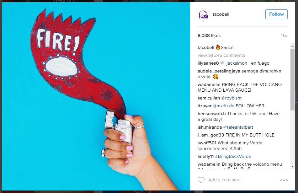 Taco Bell Instagram Post with Emojis