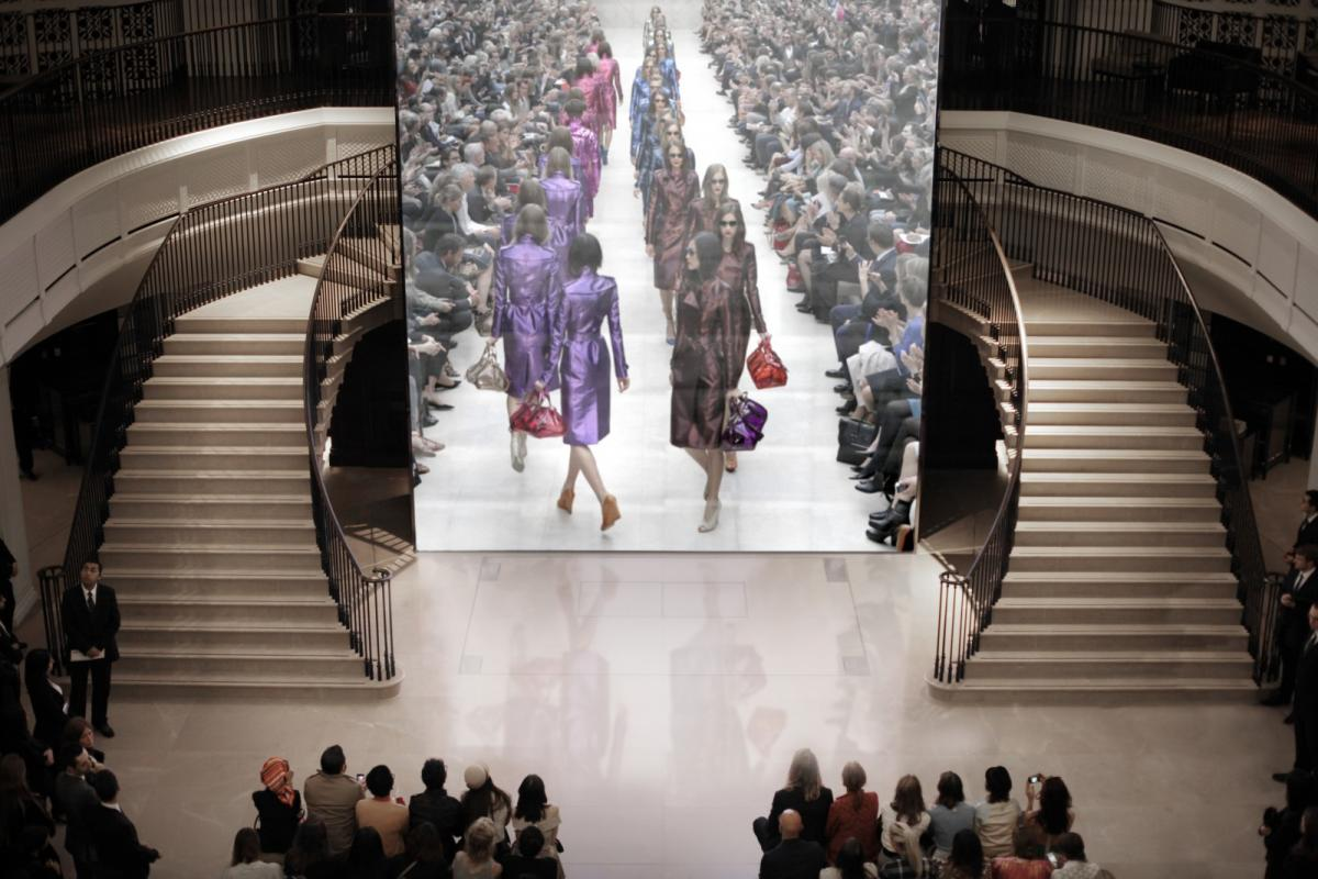 Live runway show from Burberry flagship store in London on Regent Street
