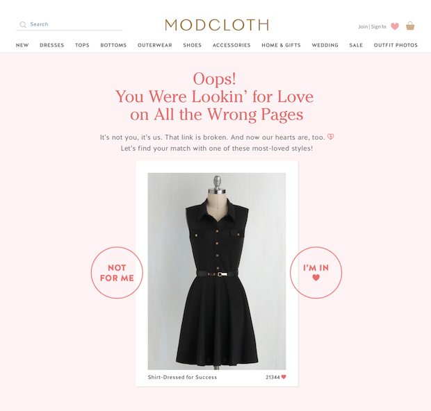 Modcloth's Converting 404 Page