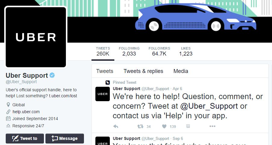 Uber's Customer Support Twitter Account