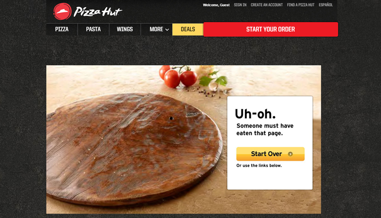Pizza Hut Funny 404 Page