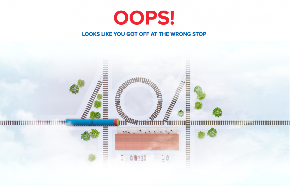 South West Trains Whimsical 404 Page
